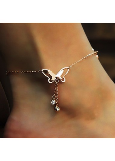 Butterfly Deaign Rhinestone Detail Hollow Out Anklet