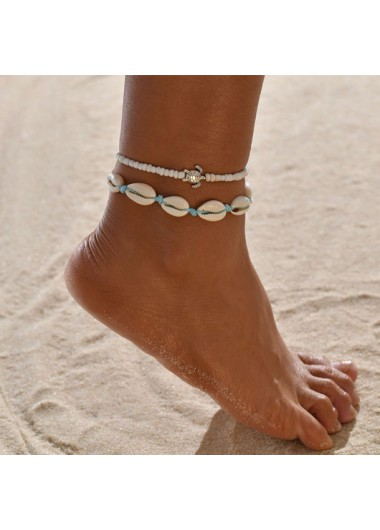 Shell Design Beads Metal Detail Anklets