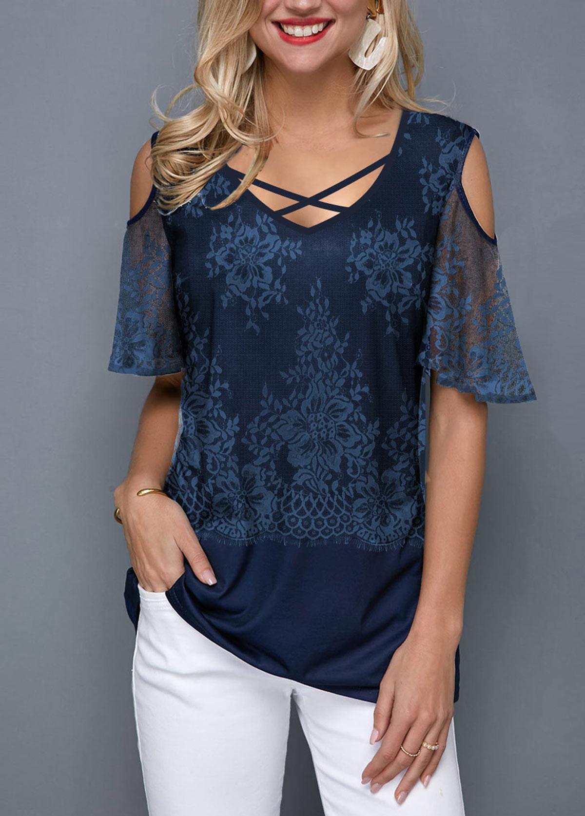 Cold Shoulder Lace Panel Cross Strap T Shirt