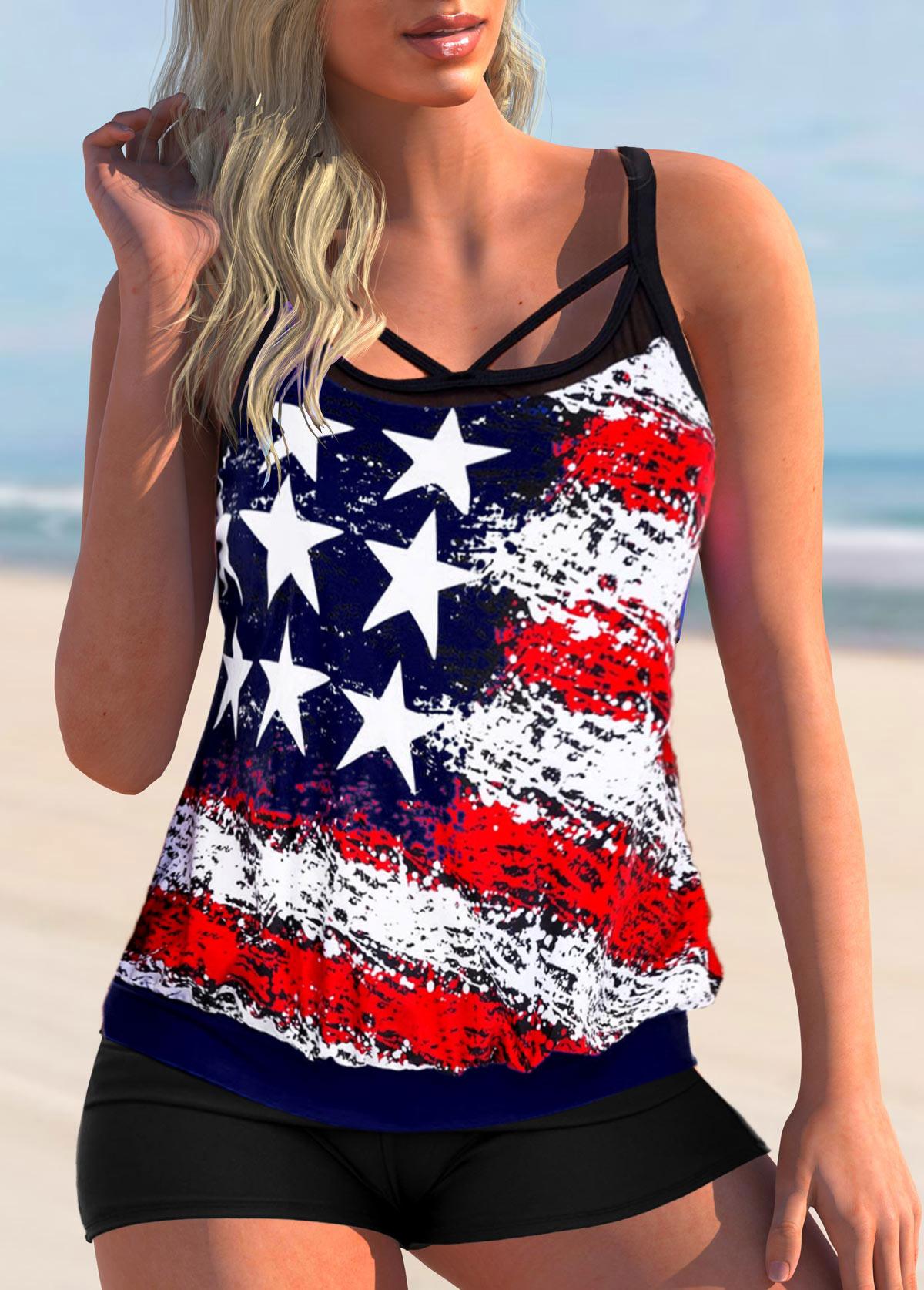 American Flag Print Cross Strap Plus Size TankinI Set