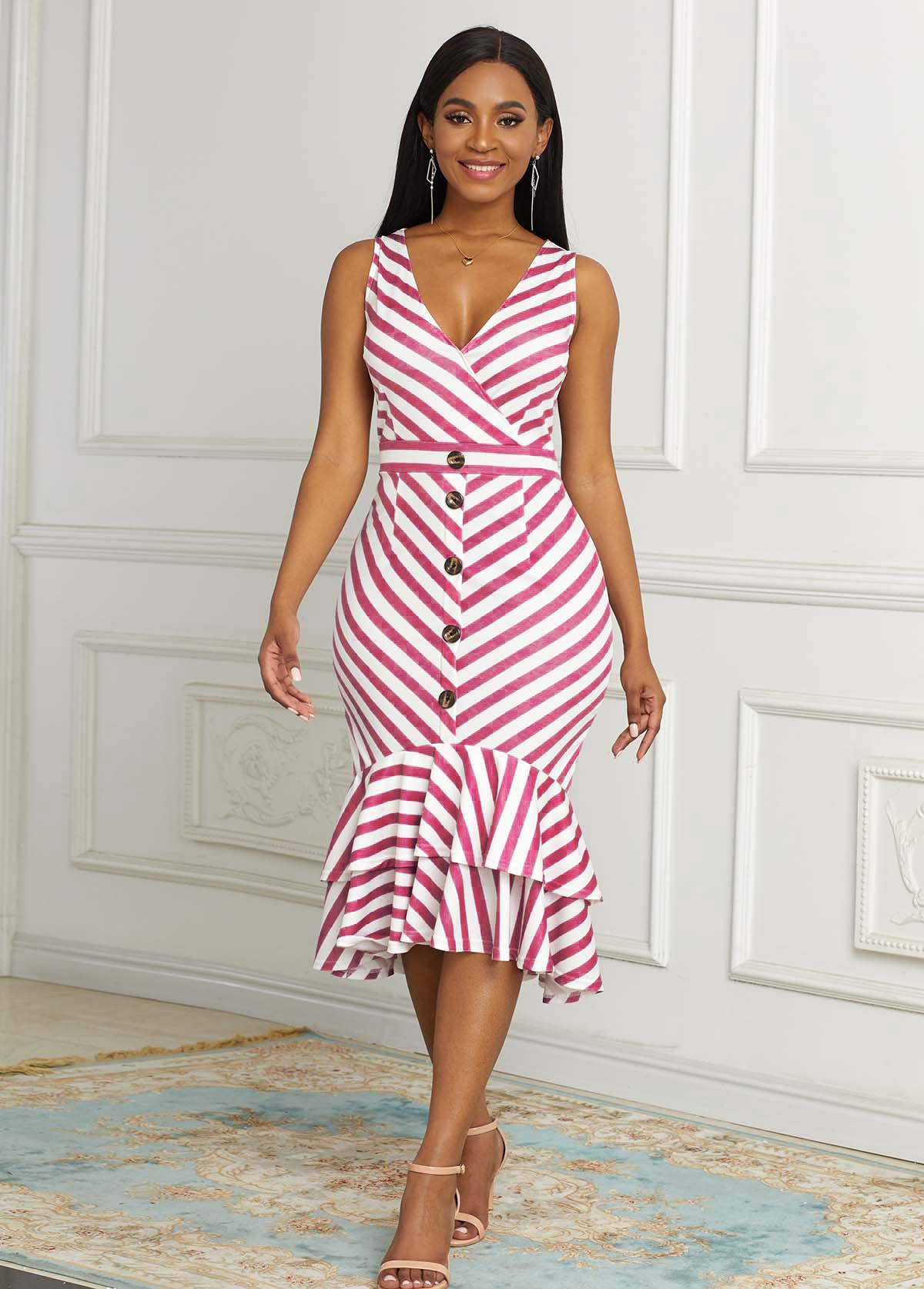 Striped Sleeveless Decorative Button Mermaid Dress