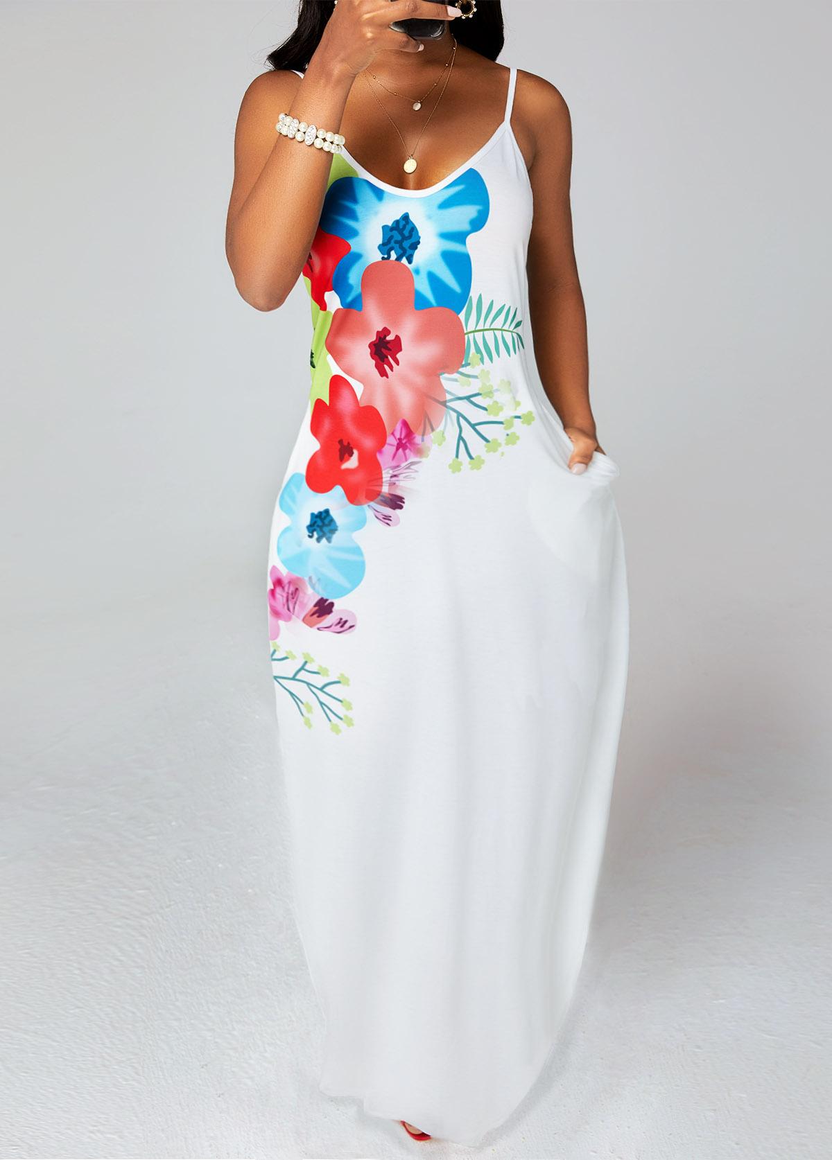 Spaghetti Strap Floral Print Pocket Dress