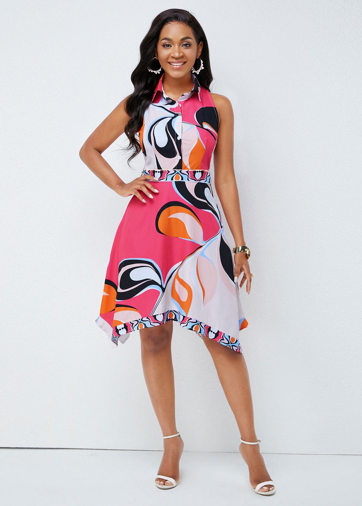 Asymmetric Hem Turndown Collar Printed Dress
