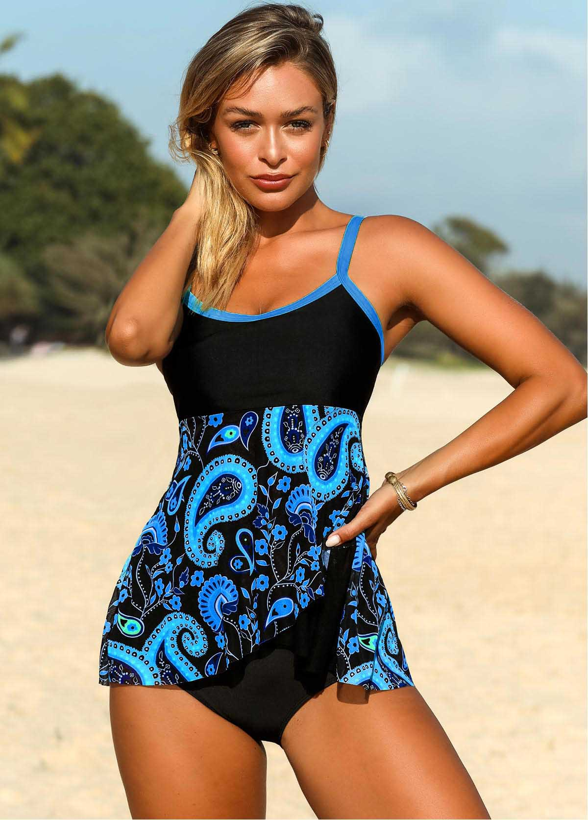 Plus Size Contrast Piping Paisley Print Tankini Top