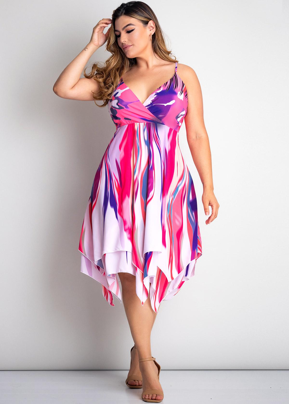 Plus Size Tie Dye Print Asymmetric Hem Dress