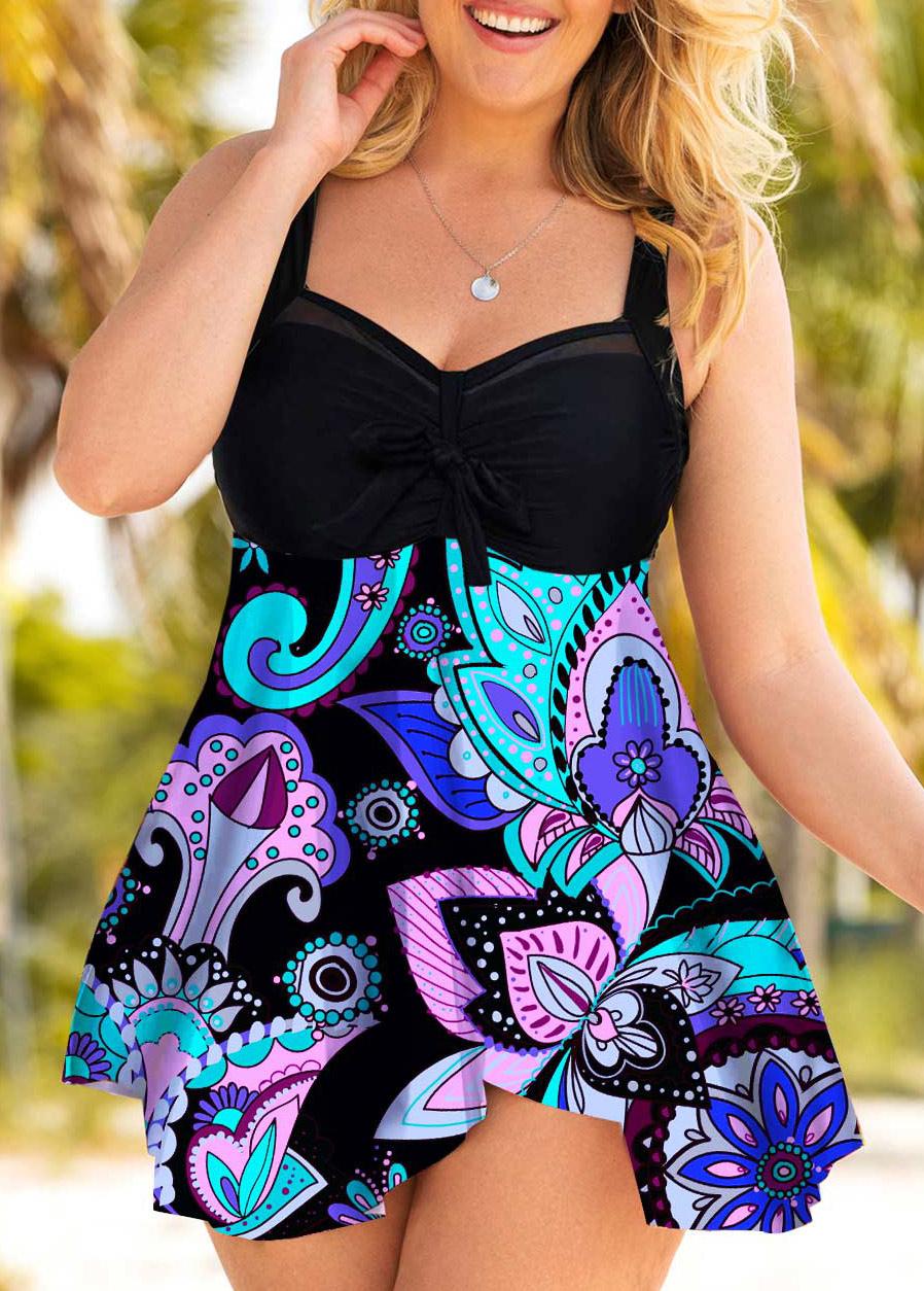 Plus Size Bowknot Paisley Print Swimdress