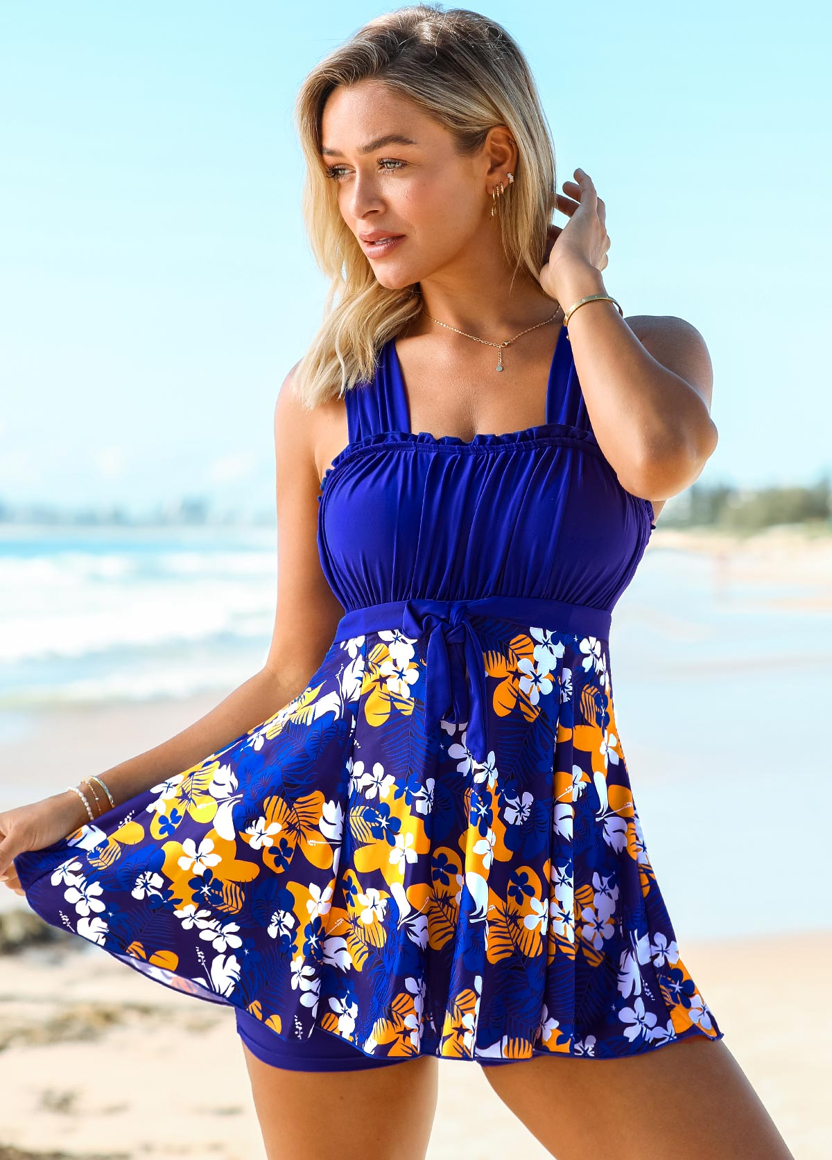 Floral Print Wide Strap Tie Front Swimdress and Shorts