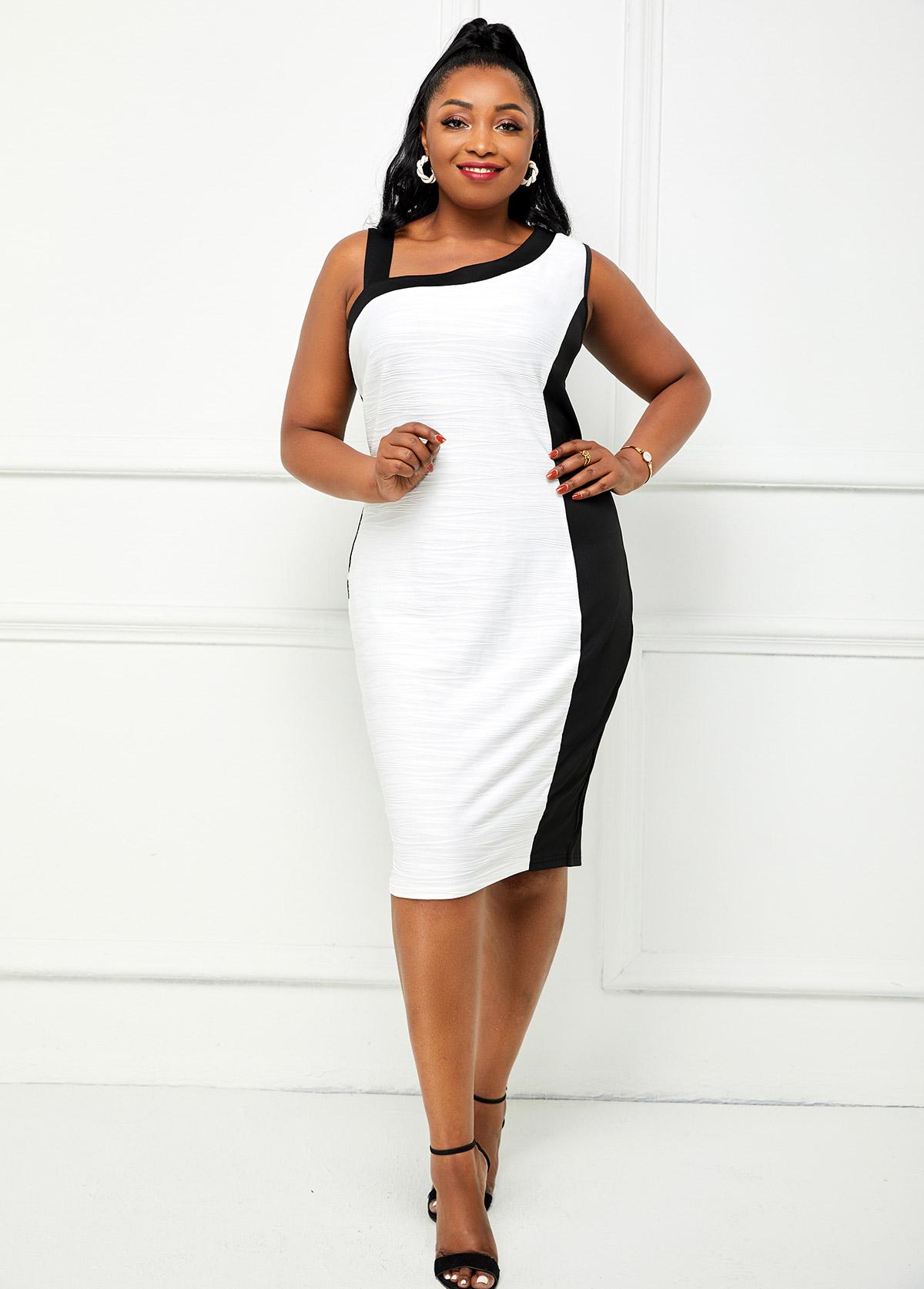 Plus Size Skew Neck Contrast Dress