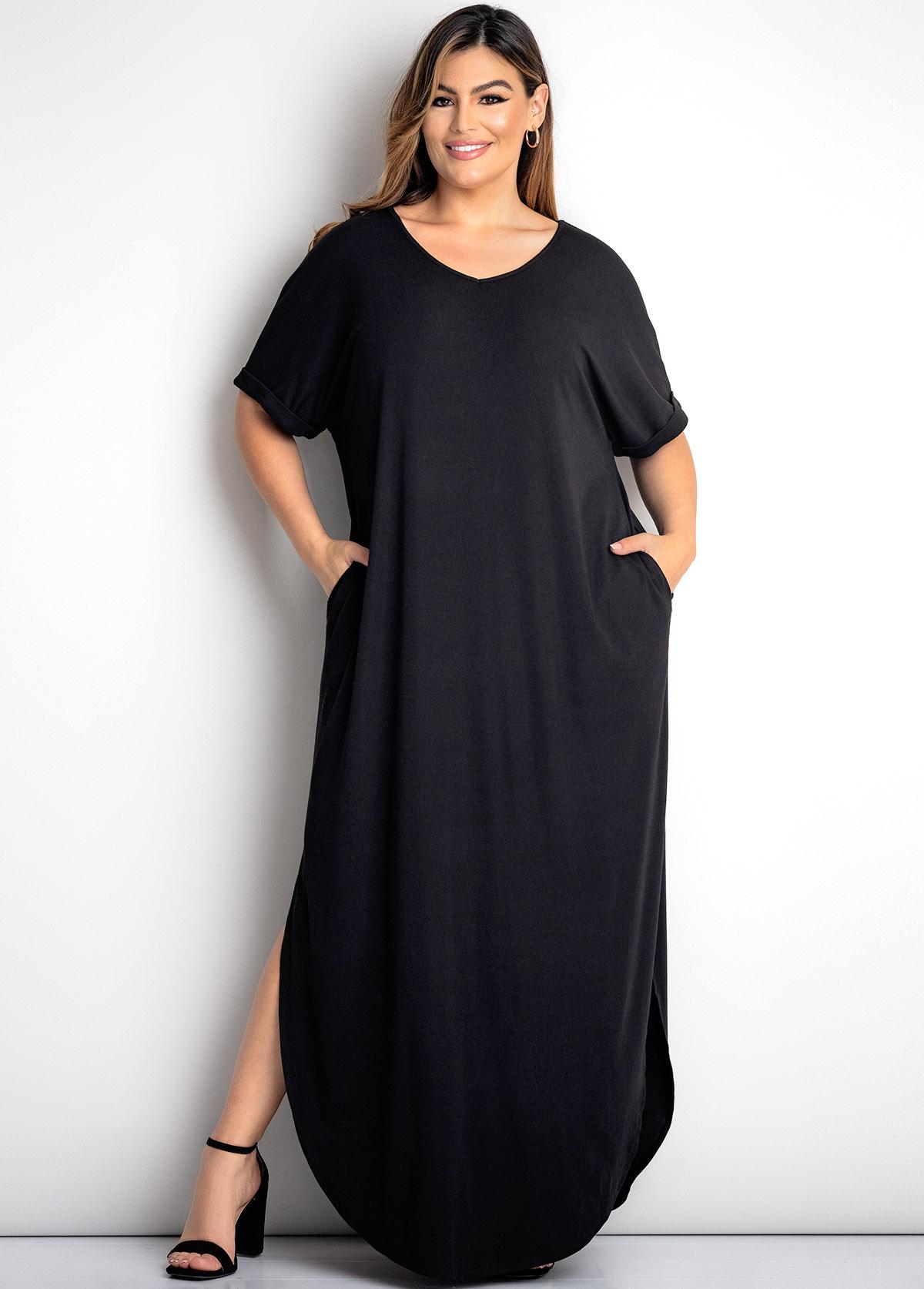 Plus Size Black Double Pocket Dress