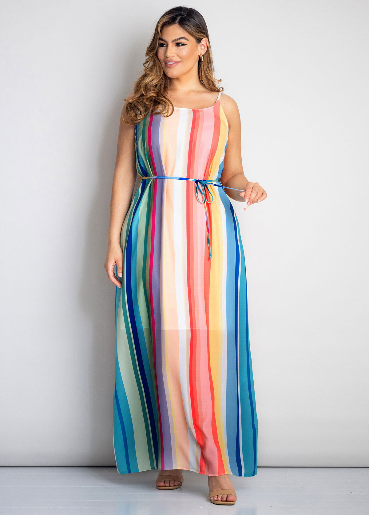 Plus Size Rainbow Stripe Spaghetti Strap Dress