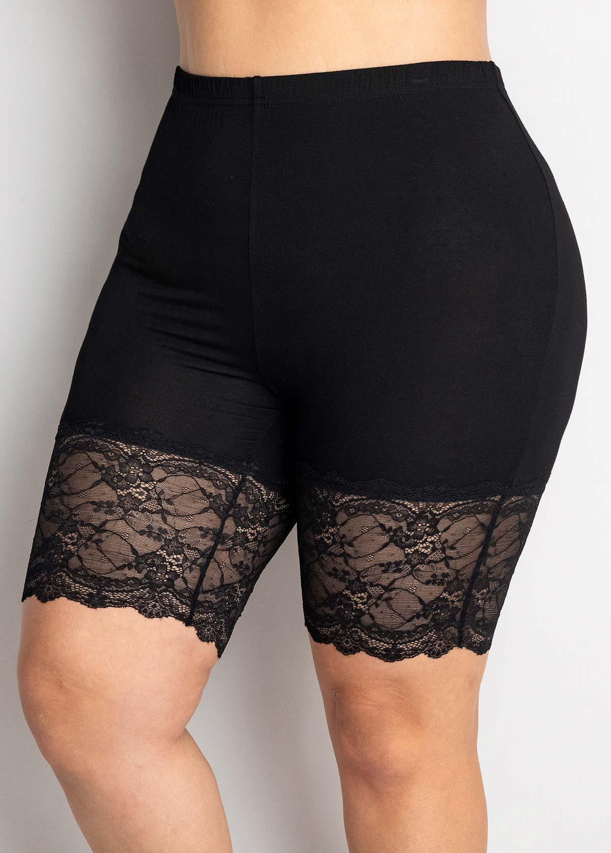 Plus Size Lace Stitching High Waisted Legging