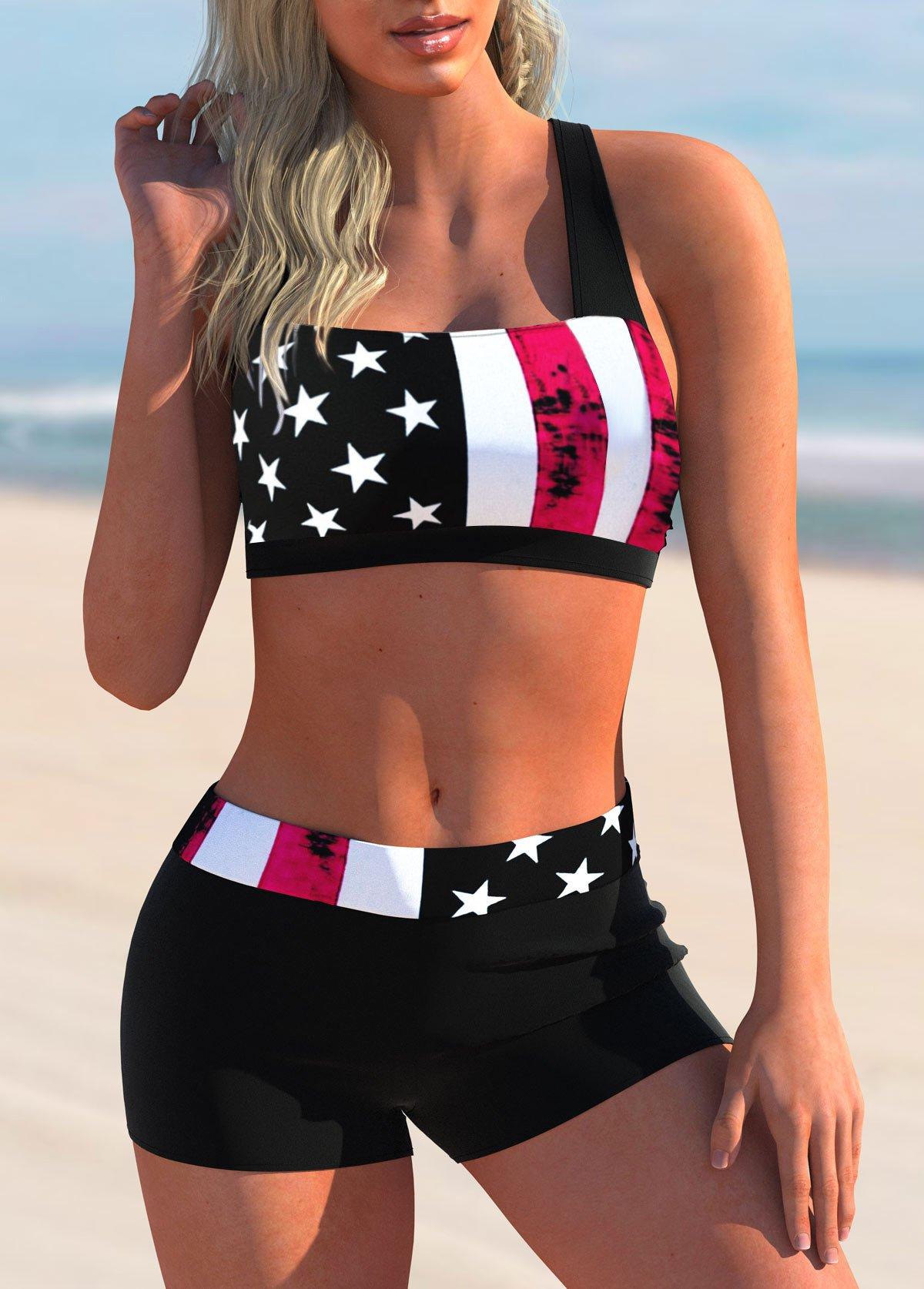 American Flag Print Bowknot Back Bikini Set
