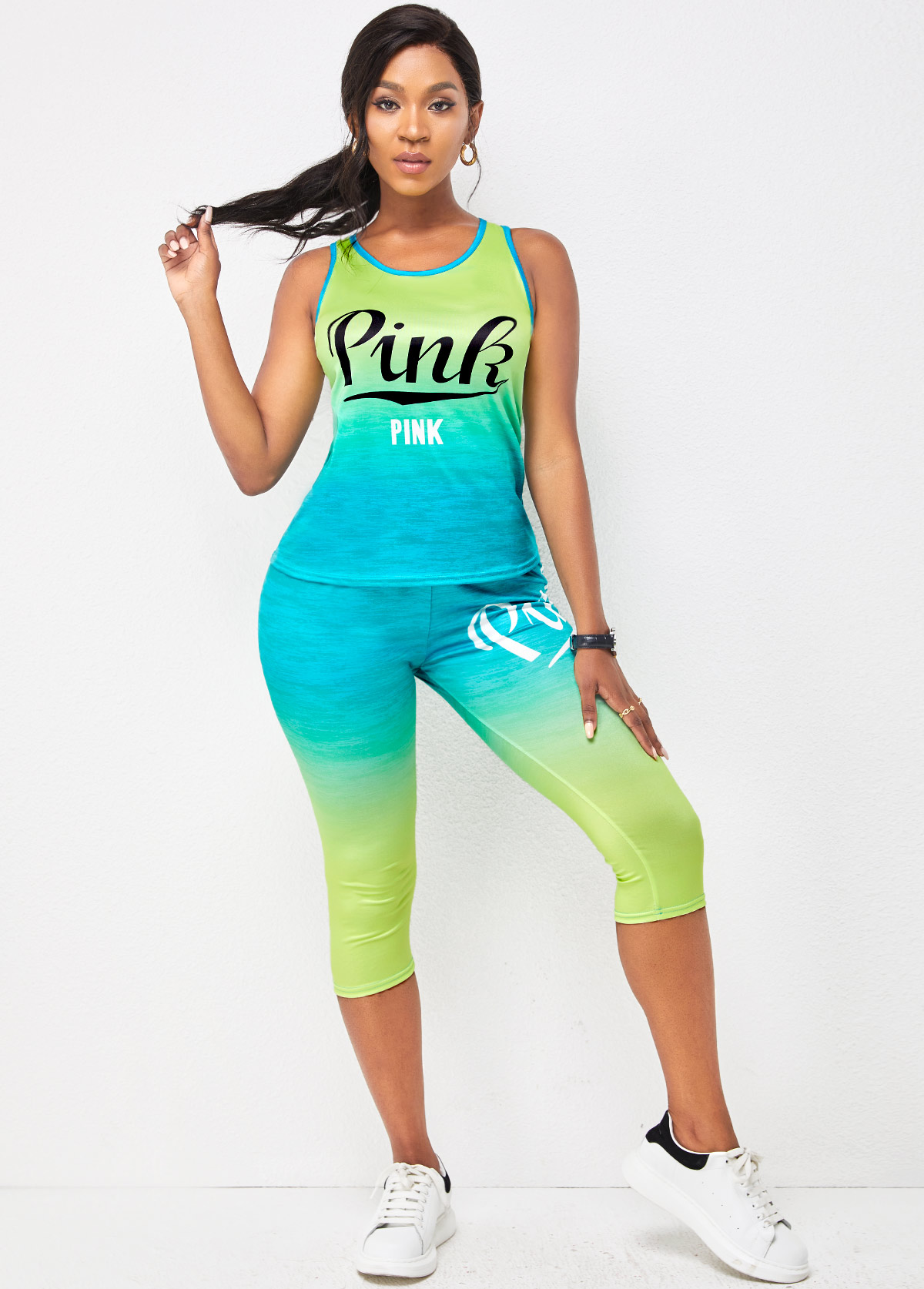 Letter Print Round Neck Sleeveless Sports Suit