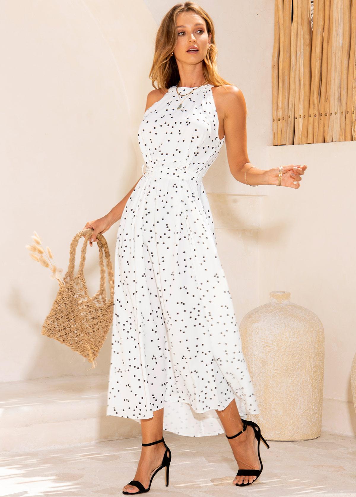 Polka Dot Sleeveless Belted Maxi Dress