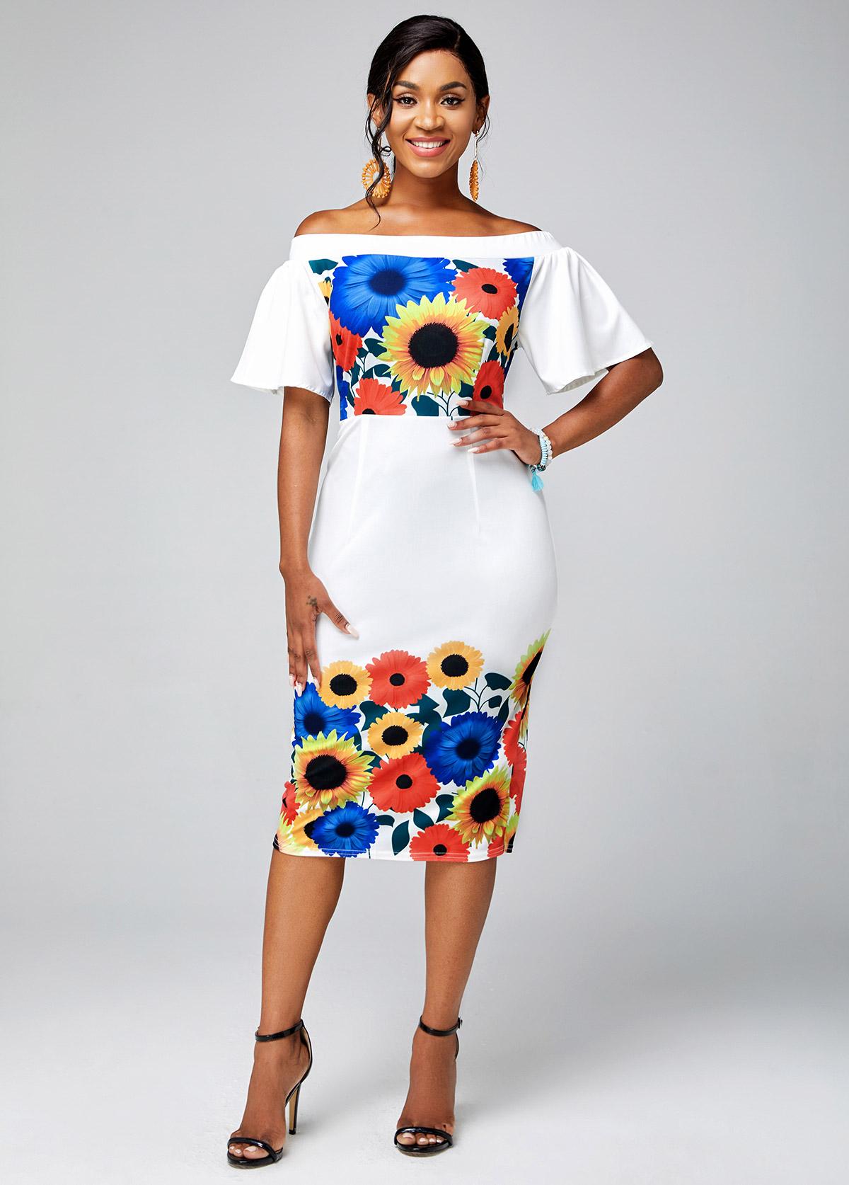 Ruffle Sleeve Off Shoulder Floral Print Dress