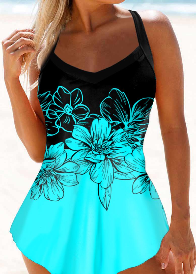 Floral Print Asymmetric Hem Swimdress and Panty