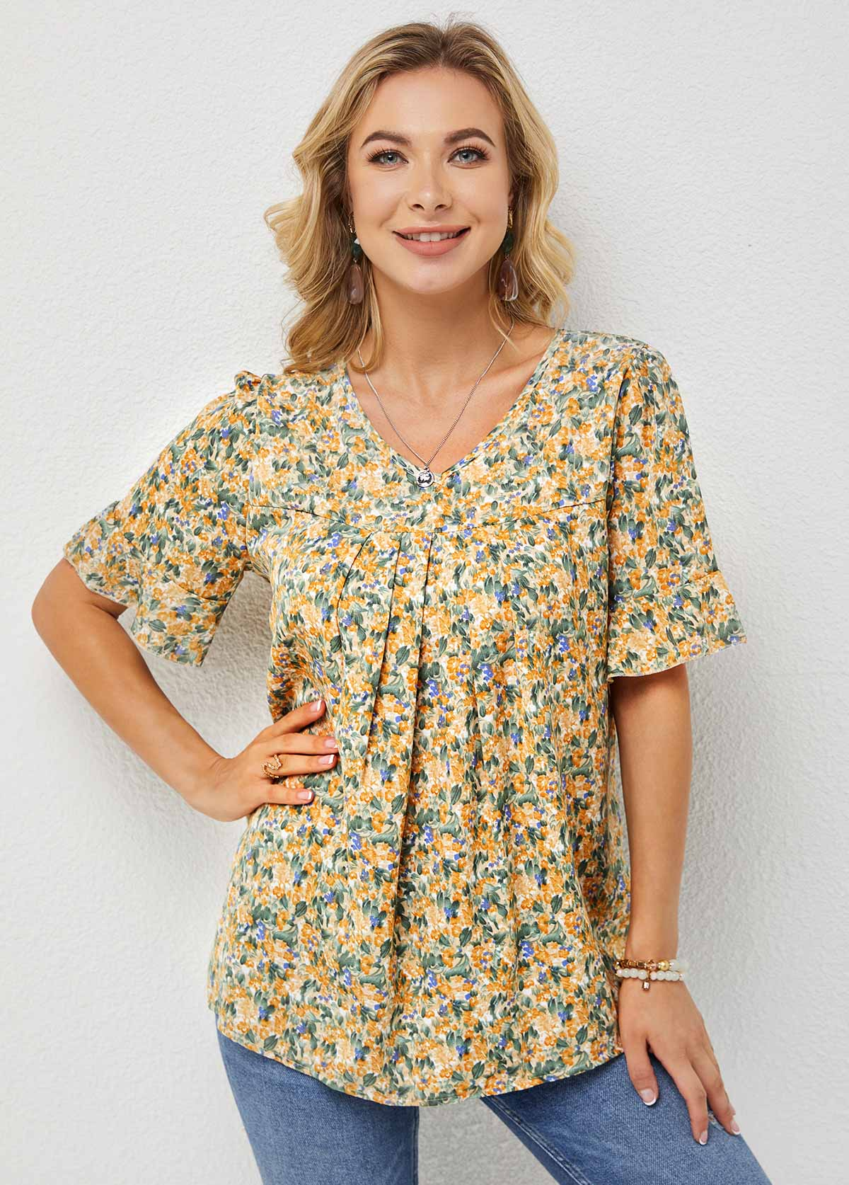 Ditsy Floral Print V Neck Half Sleeve T Shirt