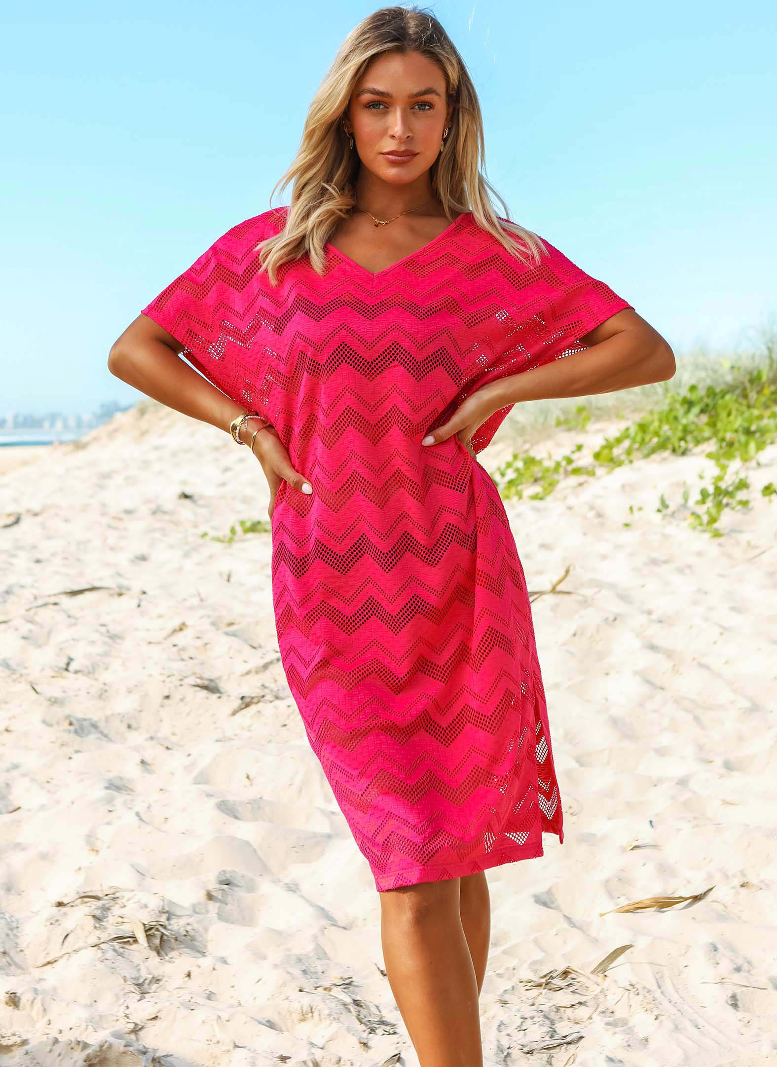 Lace Rose Red V Neck Short Sleeve Cover Up