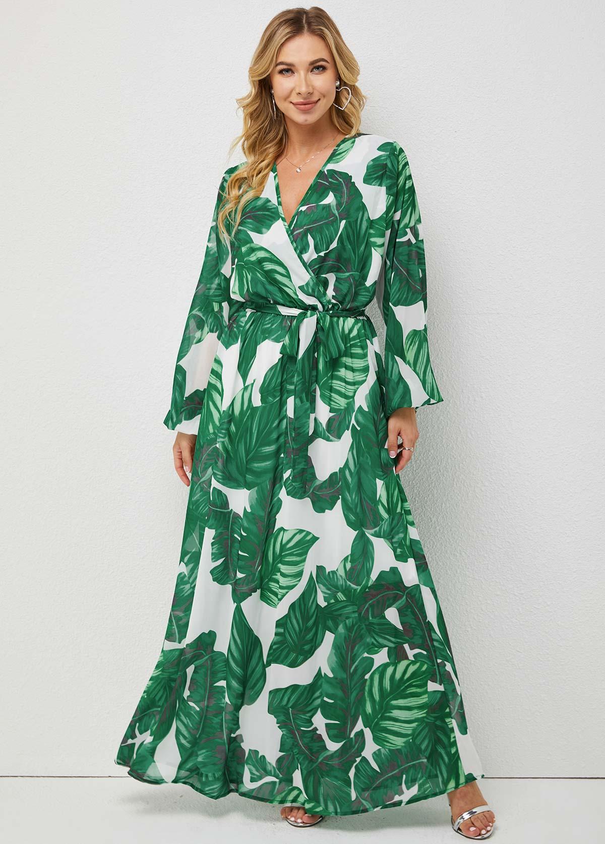 V Neck Long Sleeve Tropical Print Dress