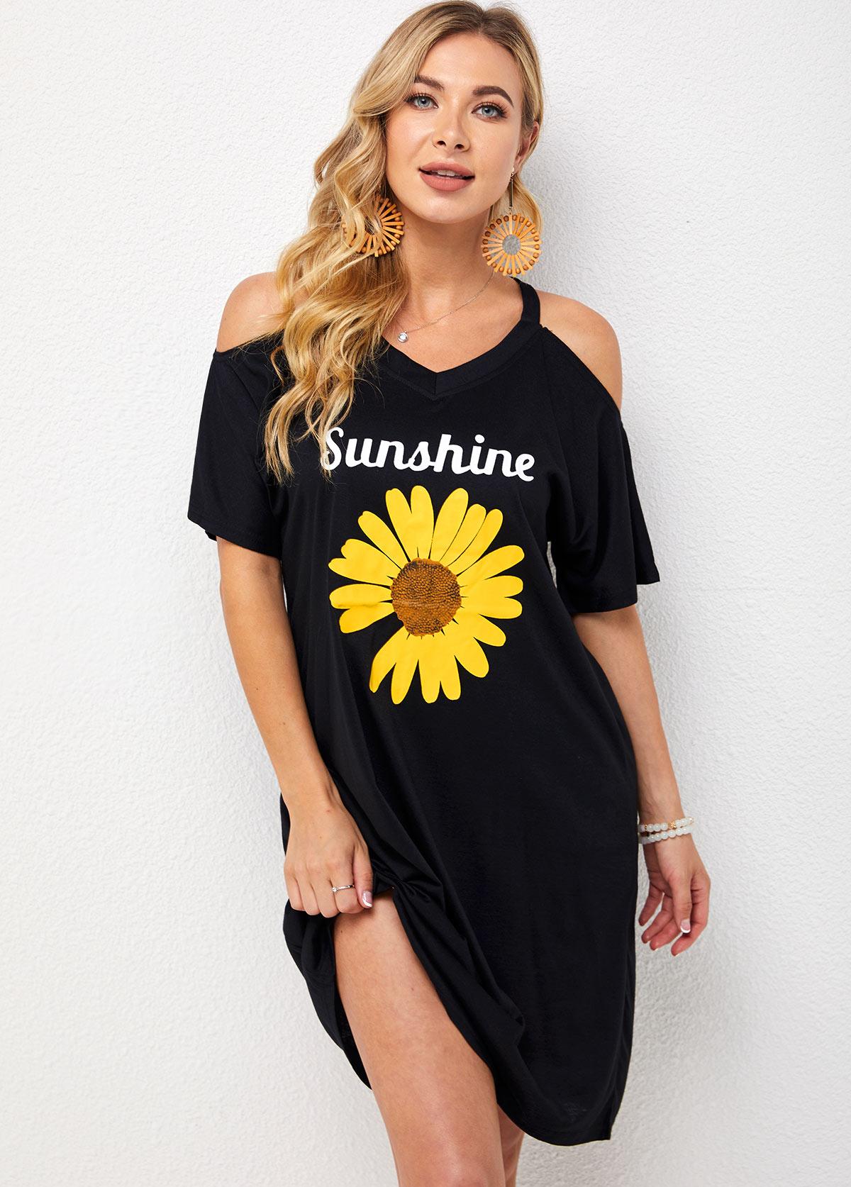 V Neck Cold Shoulder Sunflower Print Dress