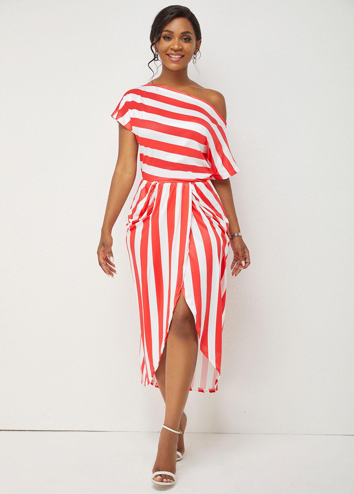 Striped Print Skew Neck One Shoulder Dress