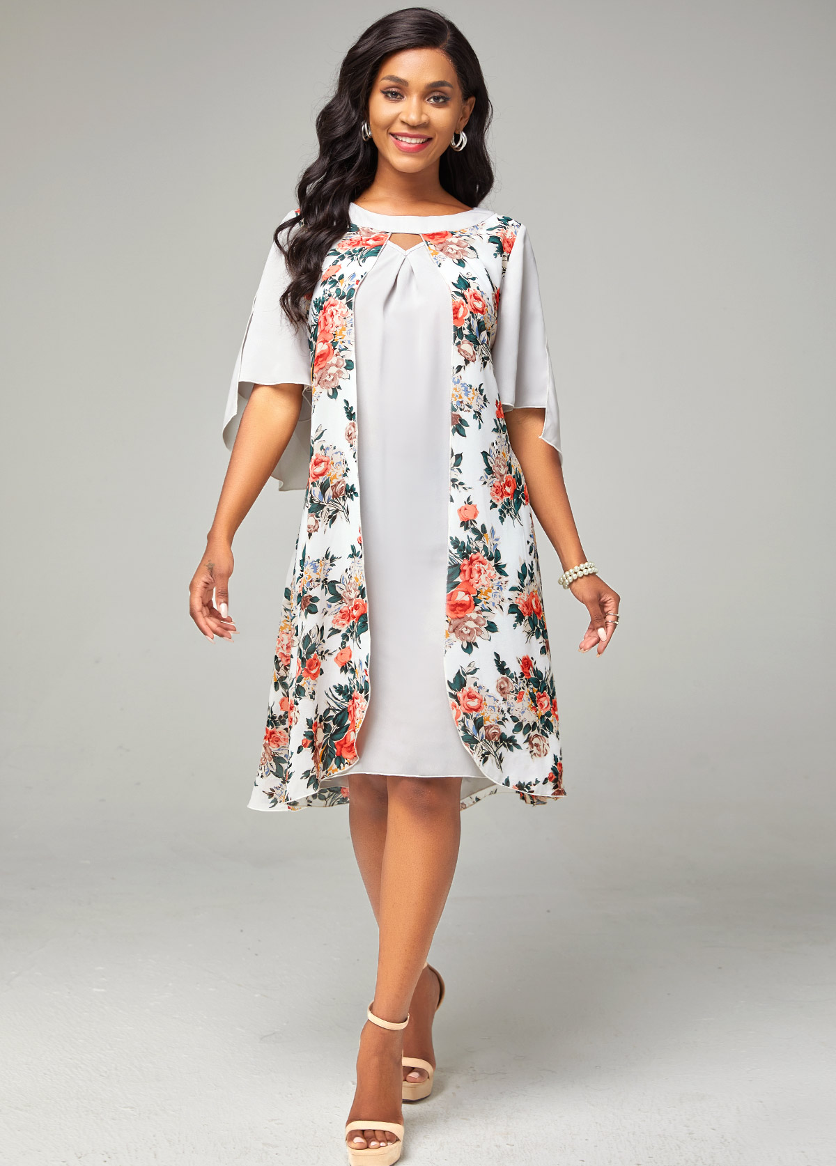 Keyhole Neckline Chiffon Floral Print Dress