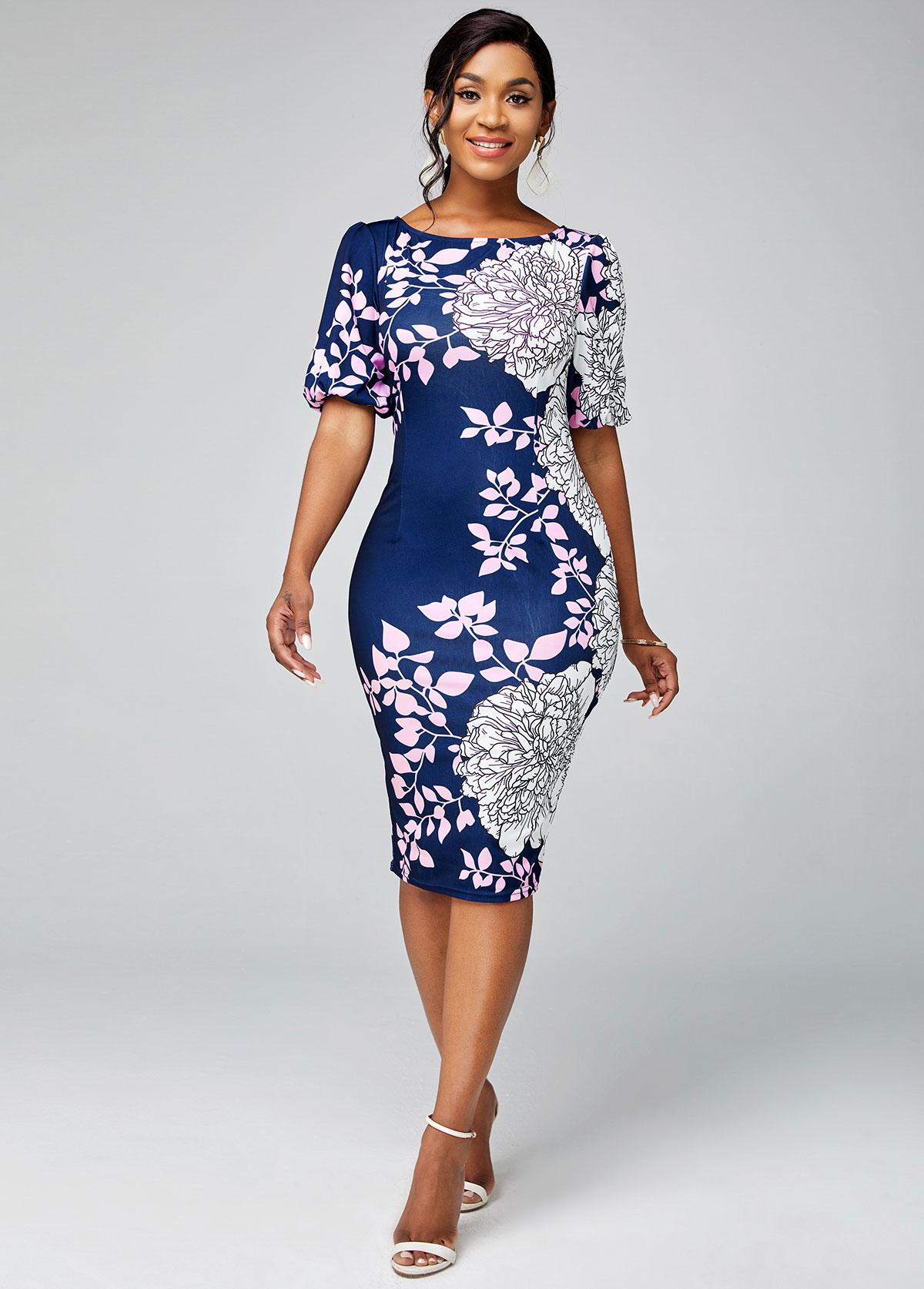 Floral Print Round Neck Short Sleeve Bodycon Dress