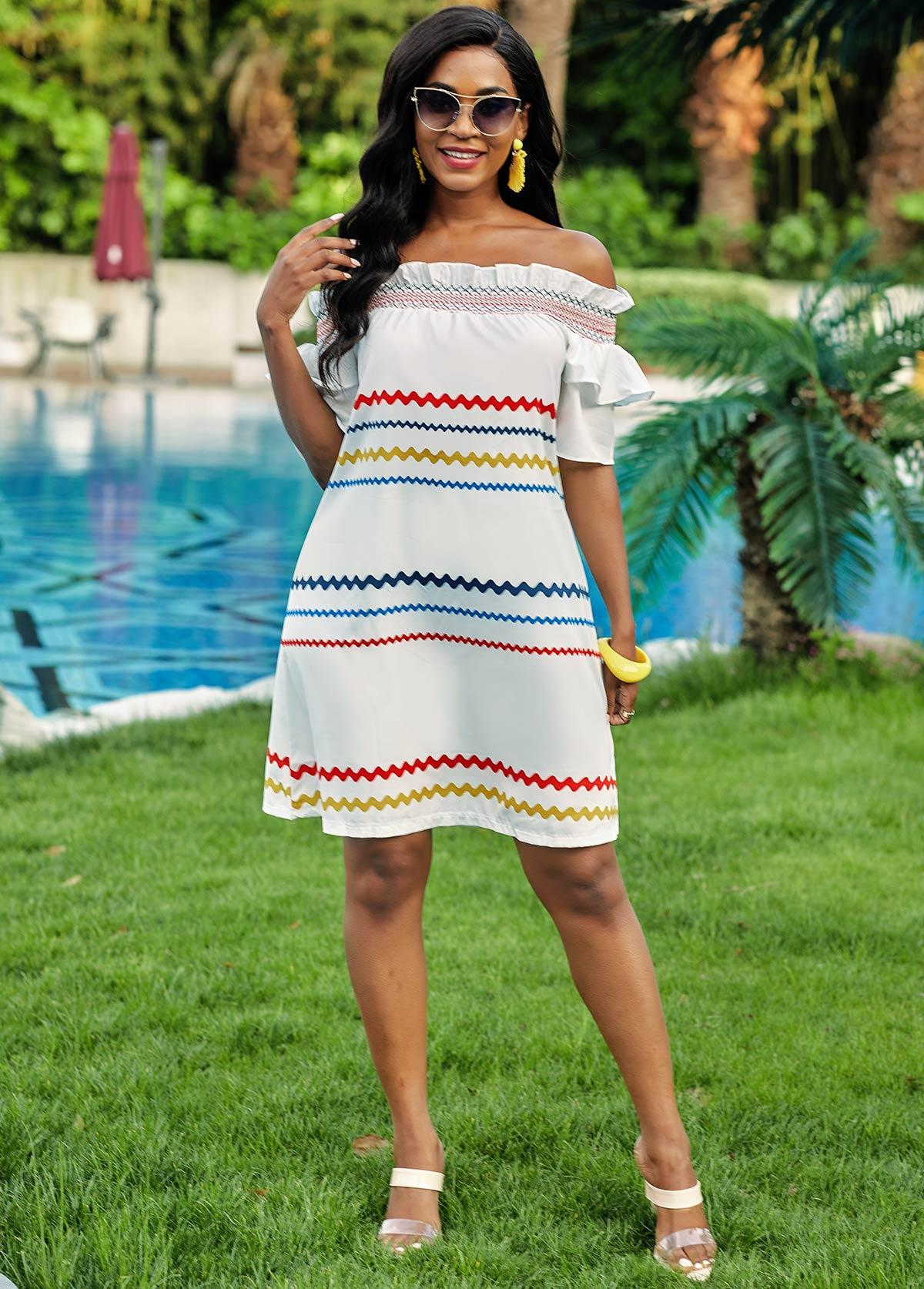 Off Shoulder Rainbow Stripe Stringy Selvedge Dress