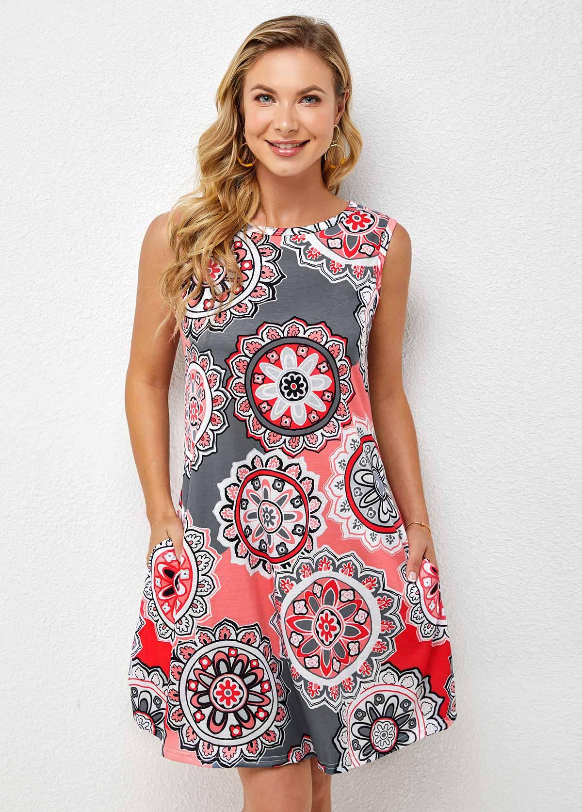 Pocket Geometric Print Round Neck Dress