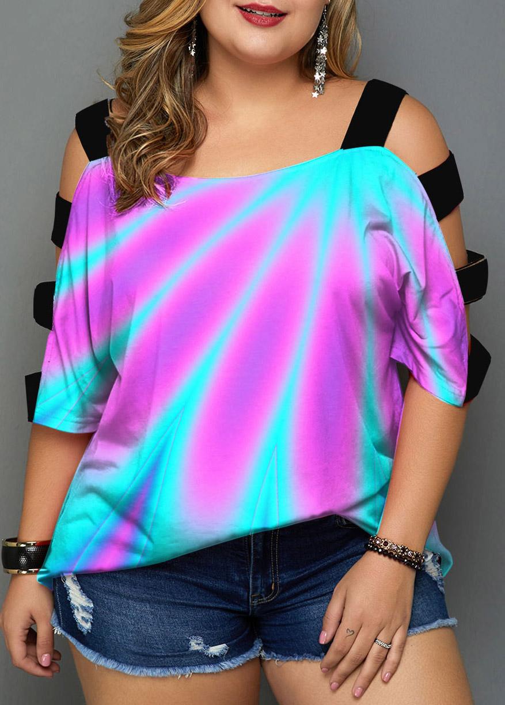 Plus Size Multi Color Ladder Cutout T Shirt