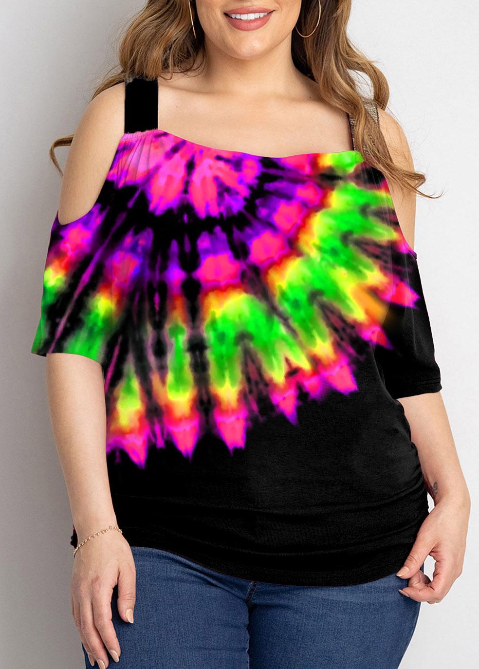 Plus Size Multi Color Cold Shoulder T Shirt
