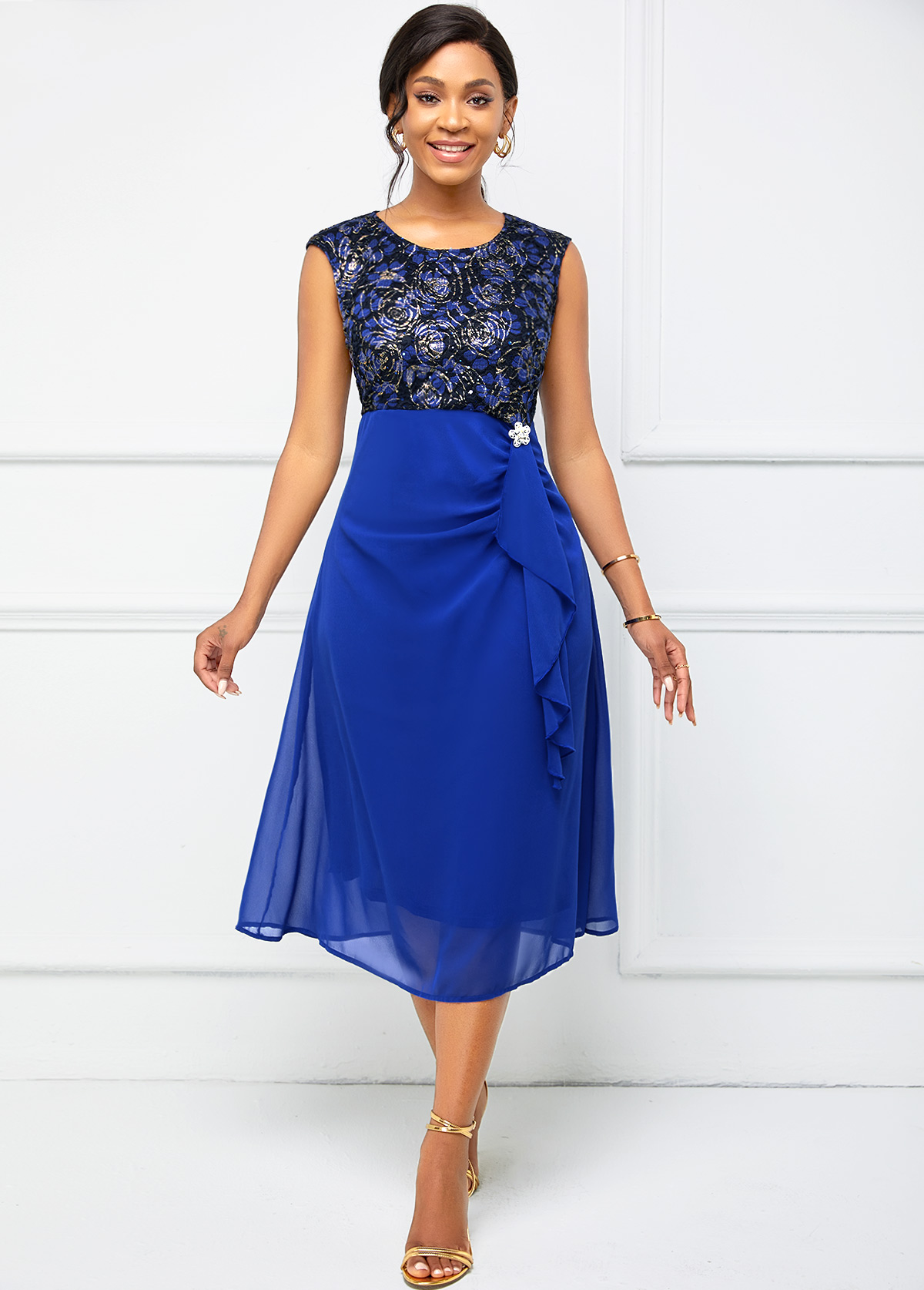 Cap Sleeve Lace Stitching Flounce Dress