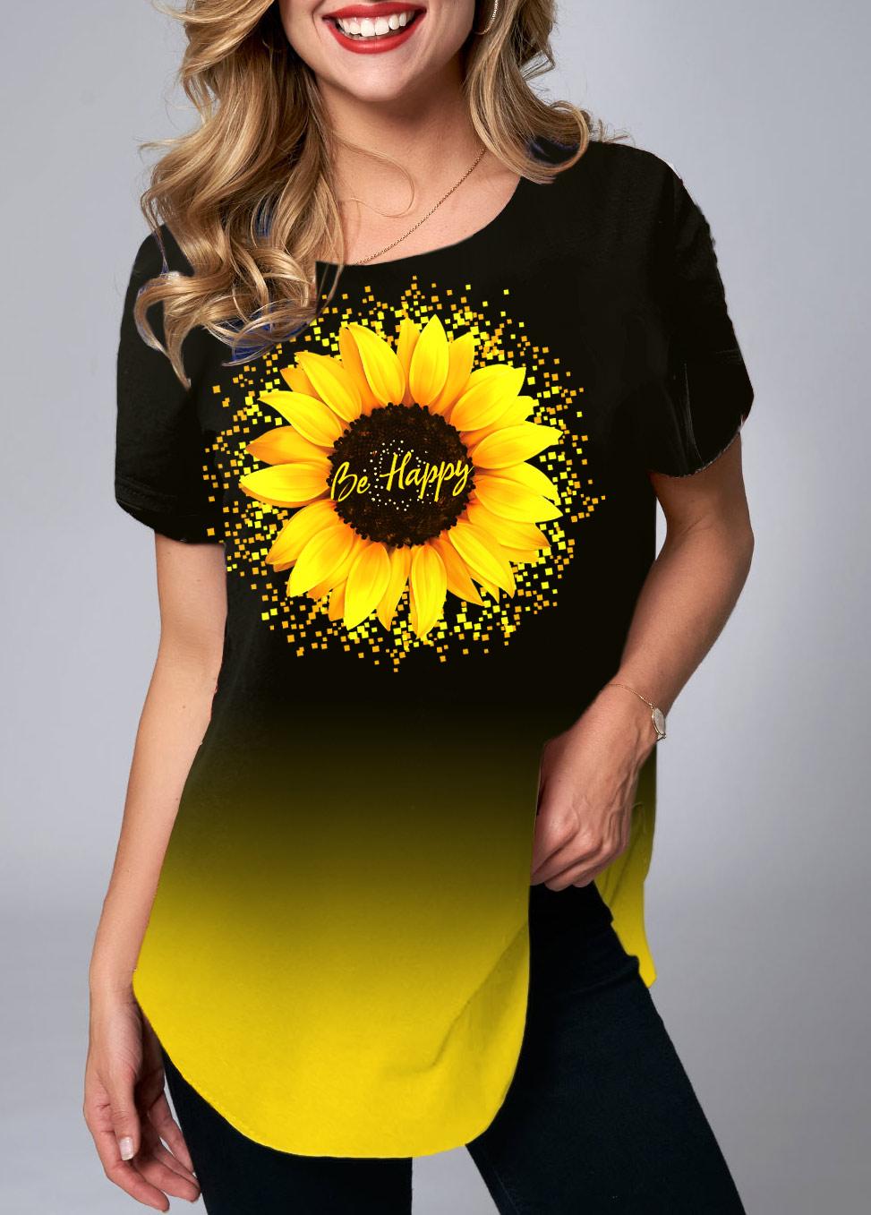 Short Sleeve Sunflower Print Ombre T Shirt