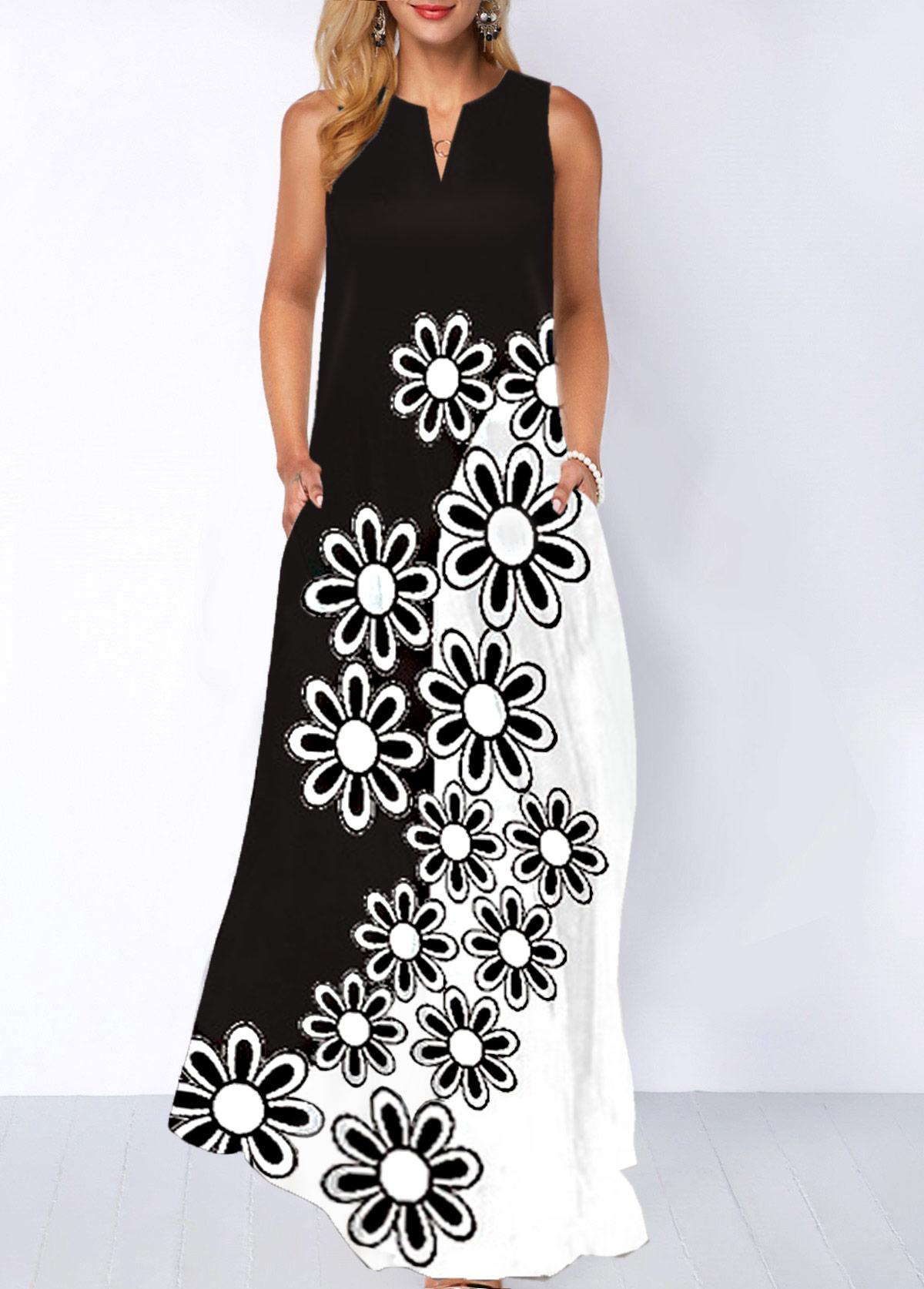 Floral Print Split Neck Sleeveless Dress