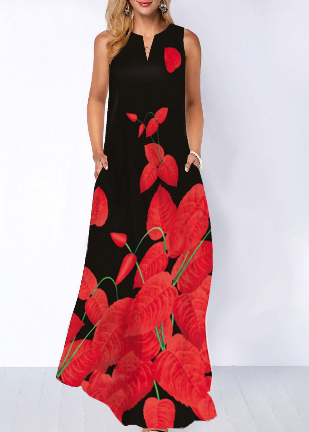 Printed Split Neck Pocket Maxi Dress