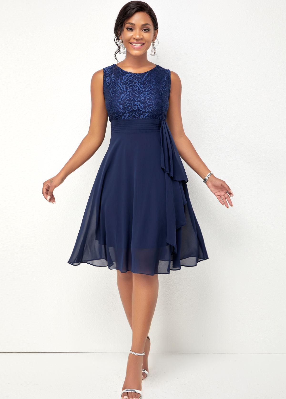 Lace Stitching Chiffon Navy Blue Dress