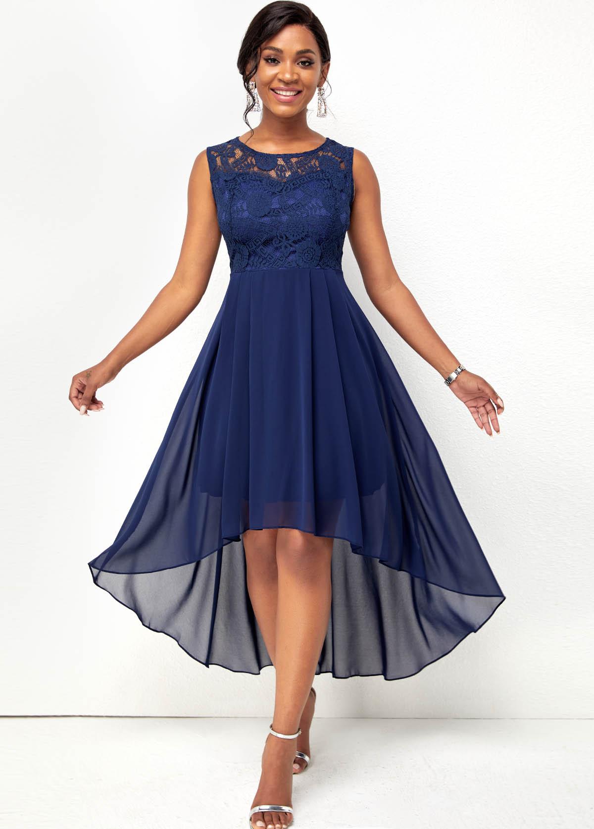 Lace Stitching Chiffon Sleeveless High Low Dress