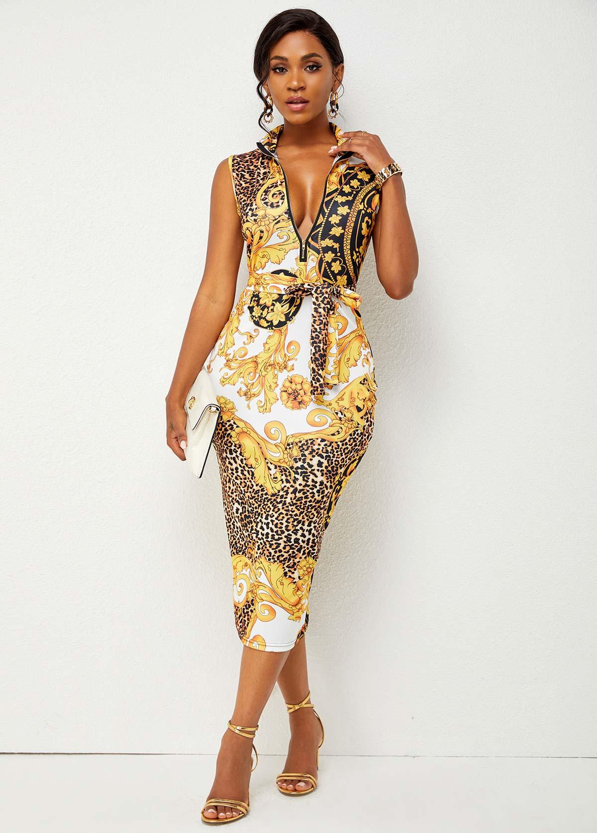 Baroque Print Quarter Zip Belted Bodycon Dress