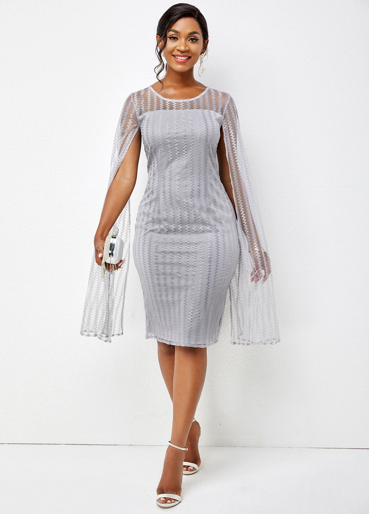 Round Neck Long Sleeve Solid Bodycon Dress