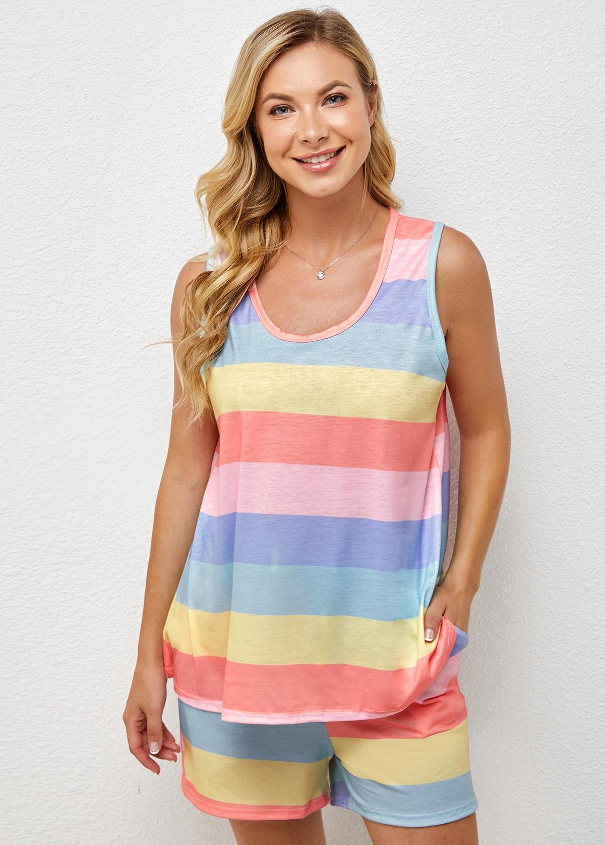 Rainbow Color Striped Round Neck Loungewear Set