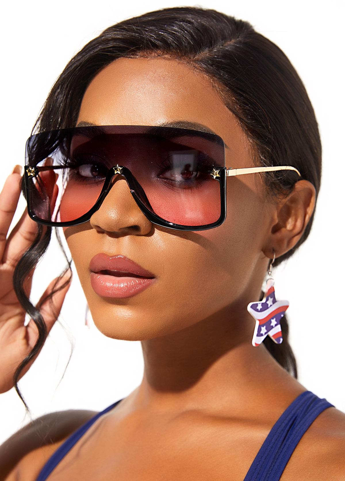Ombre Rimless Design Metal Detail Sunglasses