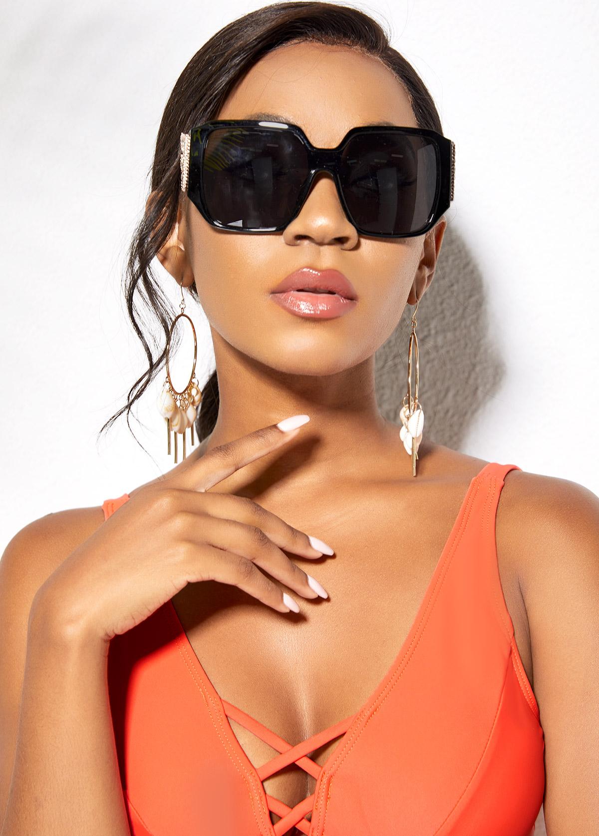 Cat Eye Frame Wing Design Sunglasses