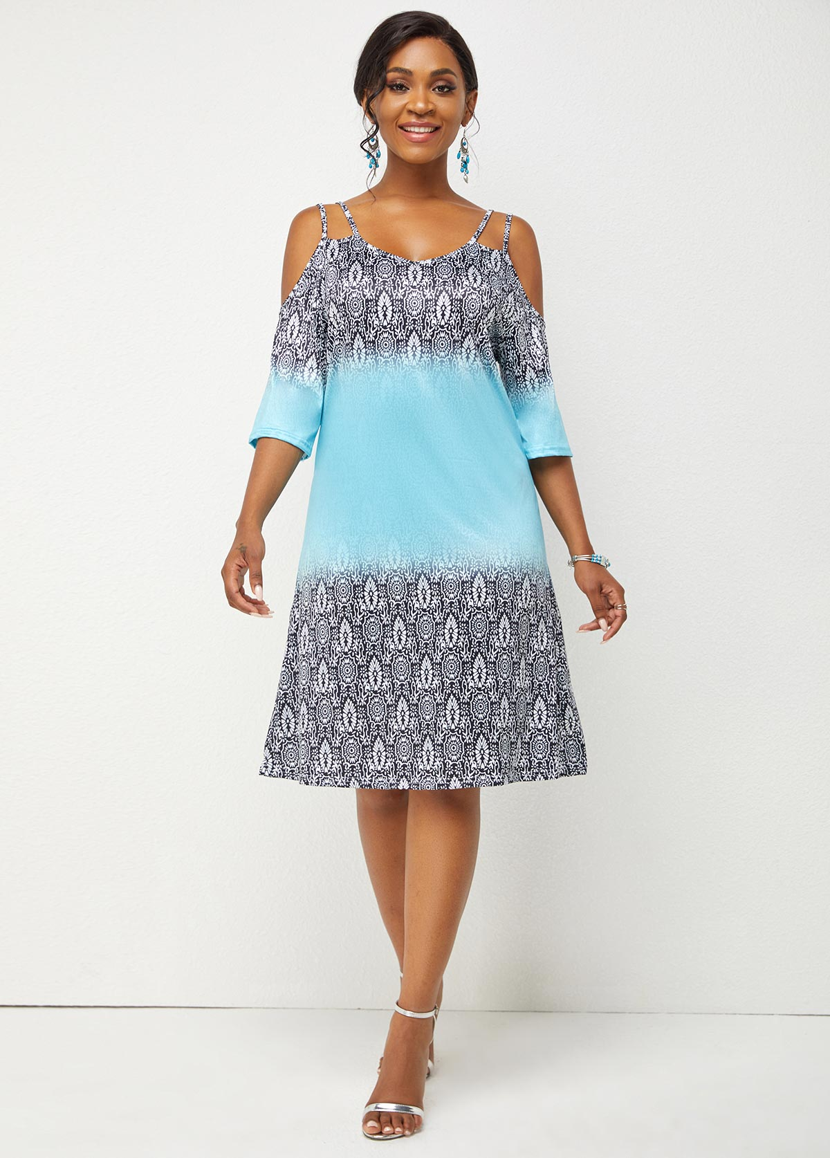 Printed Spaghetti Strap 3/4 Sleeve Dress