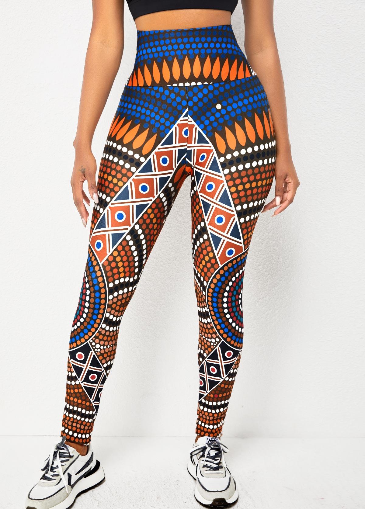 High Waisted Geometric Print Skinny Legging