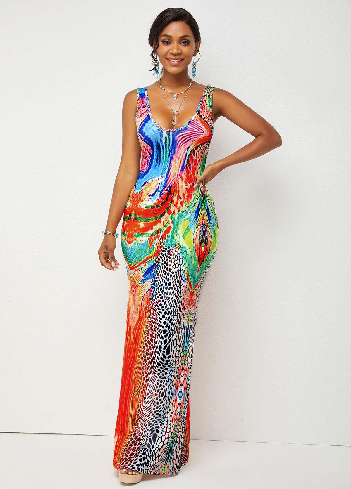 Wide Strap Printed High Waist Dress