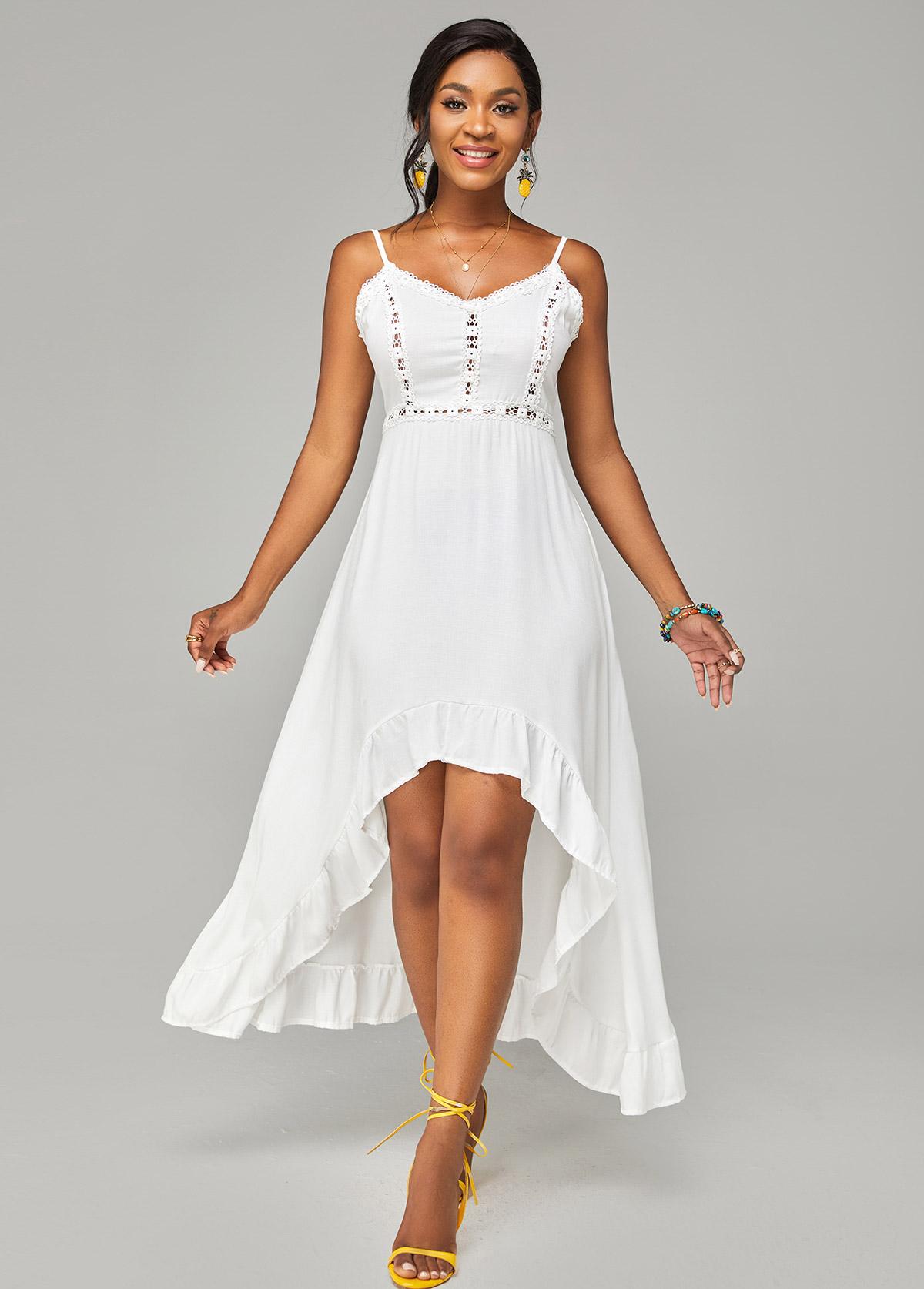 Spaghetti Strap Asymmetric Hem Lace Stitching Dress