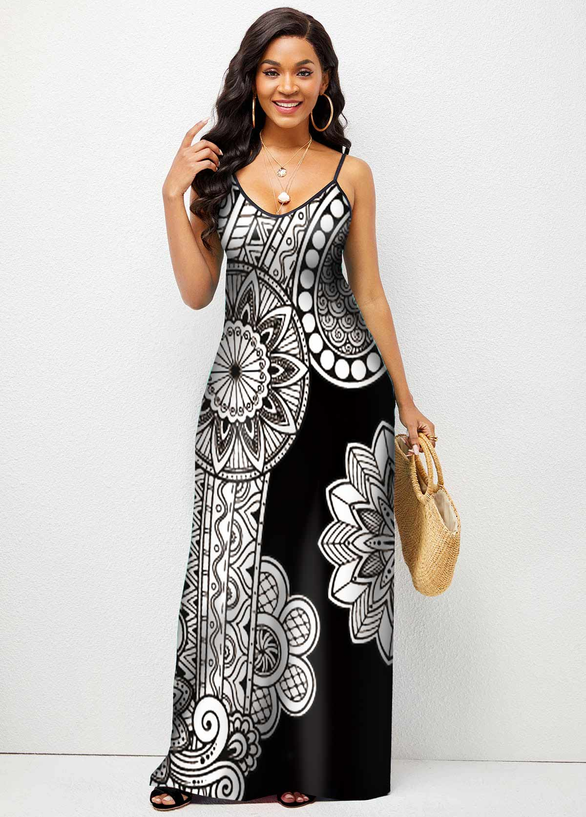 Spaghetti Strap Floral Print High Waist Maxi Dress