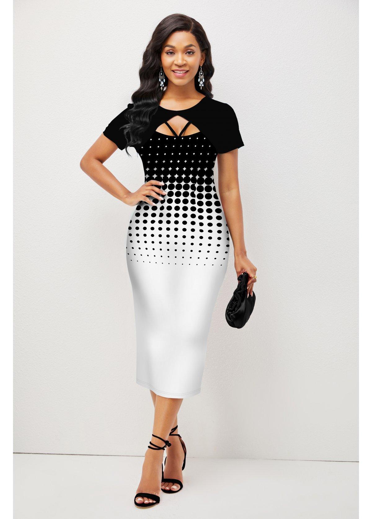 Polka Dot Ombre Short Sleeve Dress