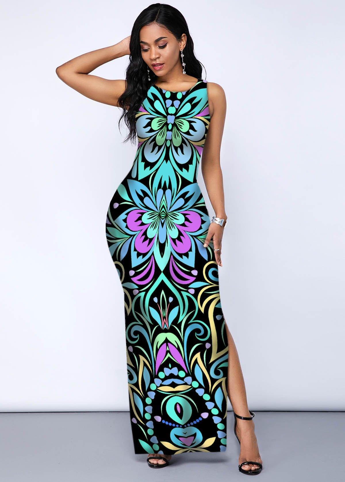 Tribal Print Side Slit Sleeveless Dress