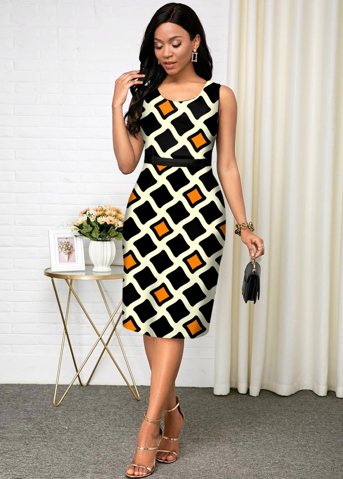 Geometric Print Sleeveless Round Neck Dress